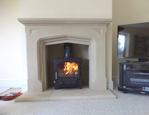 Faraday Stoves working on a fireplace in Honiton. A Town and Country Fires, Little Thurlow stove was installed.
