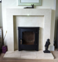 Crema Marfil marble to be fitted with a Town & Country Fires, Rosedale 5ke inset stove
